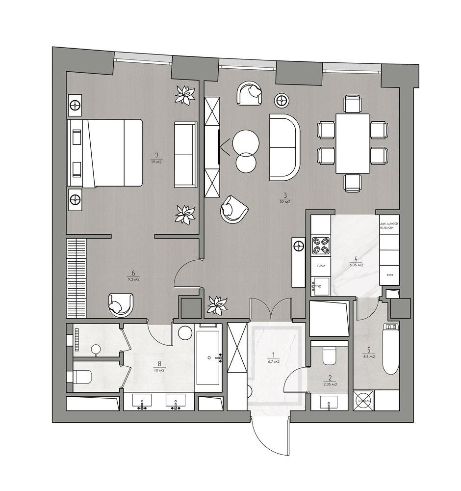 Фотография: Планировки в стиле , Квартира, Проект недели, Москва, 2 комнаты, 60-90 метров, Монолитно-кирпичный, Анастасия Павлова – фото на InMyRoom.ru