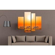 Стильная полиптих для декора стен: Зебры на прогулке