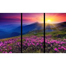 """Триптих на холсте """"Рассвет в горах"""""""