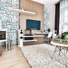 Фотография: Гостиная в стиле Современный, Эклектика, Квартира, Цвет в интерьере, Дома и квартиры, Лестница, Бирюзовый, Будапешт – фото на InMyRoom.ru