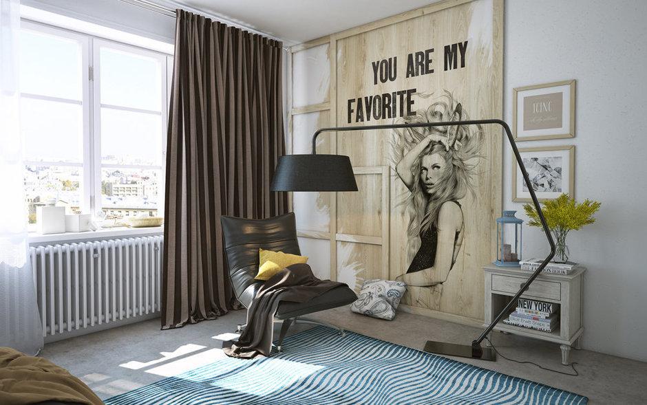 Фотография: Декор в стиле Лофт, Спальня, Современный, Квартира, Белый, Проект недели, Черный, Коричневый, Санкт-Петербург, Наташа Янсон, зал для йоги, как зонировать спальню, гардеробная в спальне, лофт в спальне – фото на InMyRoom.ru