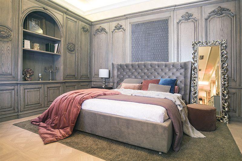 """Кровать """"Molly""""в обивке графитовым велюром 180x200 см"""