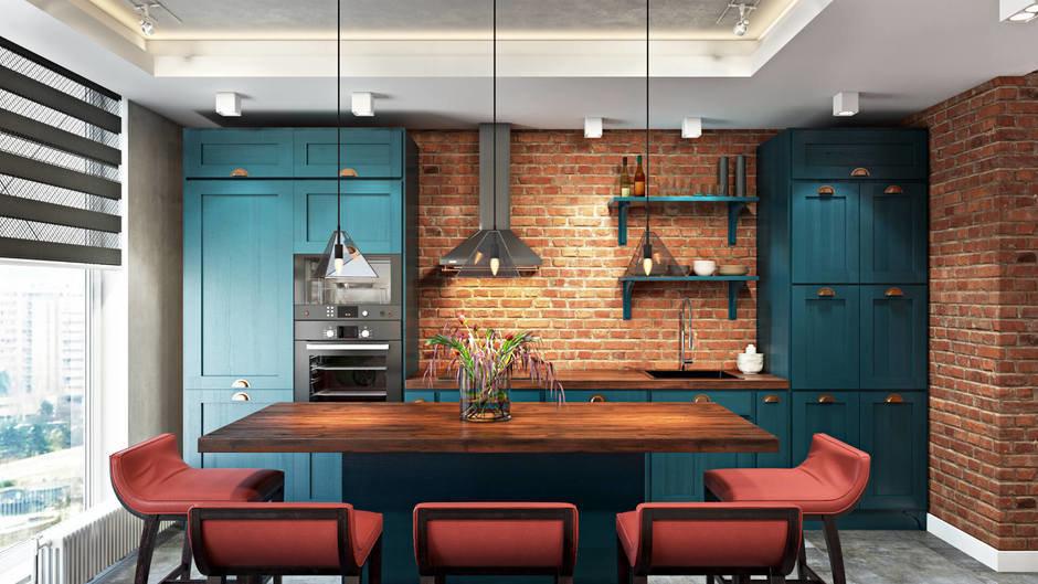 Фотография: Кухня и столовая в стиле Лофт, Квартира, Проект недели, Санкт-Петербург, Эко, Монолитный дом, 3 комнаты, 60-90 метров, FISHEYE ARCHITECTURE & DESIGN – фото на InMyRoom.ru