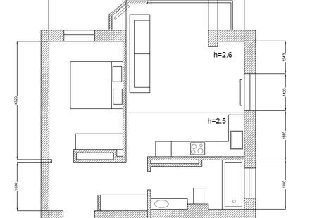 Помогите с выбором цветовой палитры помещения гостинная-кухня сложной формы.