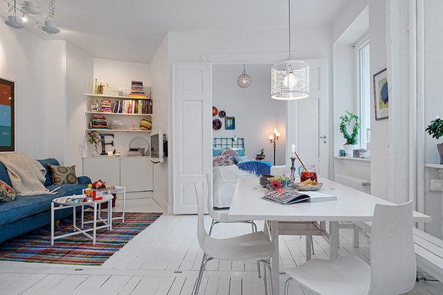 Фотография: Гостиная в стиле Скандинавский, Кухня и столовая, Малогабаритная квартира, Квартира, Дома и квартиры – фото на InMyRoom.ru