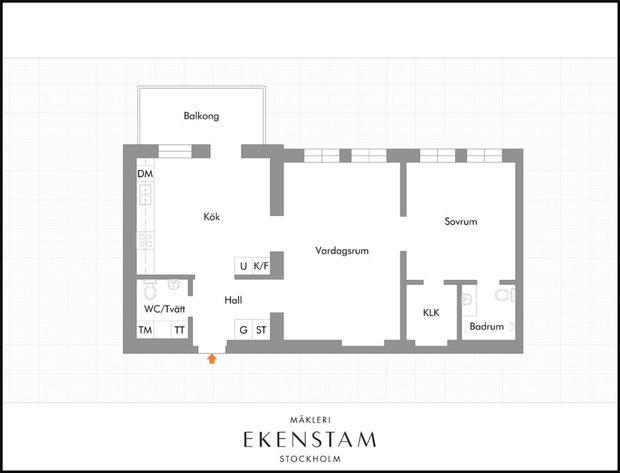 Фотография: Планировки в стиле , Декор интерьера, Квартира, Швеция, Черный, 2 комнаты – фото на InMyRoom.ru