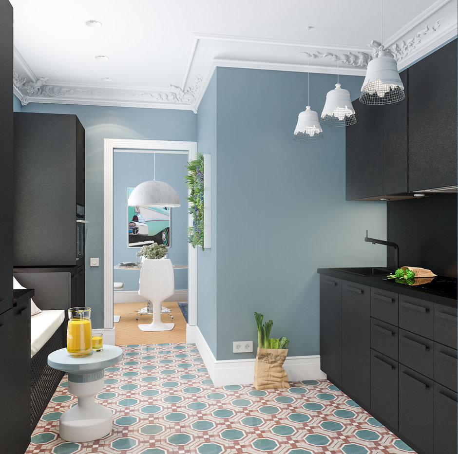 Фотография: Кухня и столовая в стиле Скандинавский, Малогабаритная квартира, Квартира, Проект недели, Марина Саркисян, Хельсинки, 2 комнаты, до 40 метров – фото на InMyRoom.ru