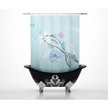 Дизайнерские шторы для ванной: Рыба в цветах