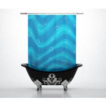 Штора для ванной: Голубые волны