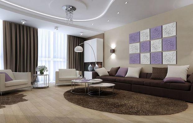 как украсить стену над диваном в зале